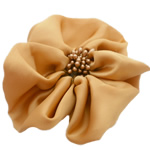 Fashion Decoration Flowers, Chiffon, with Plastic, earth yellow, 100x100mm, 30PCs/Lot, Sold By Lot