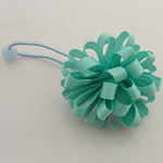 Ponytail Holder, Satin Ribbon, with Rubber & Plastic, Flower, elastic, aqua green, 100x40mm, 30PCs/Lot, Sold By Lot