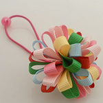 Ponytail Holder, Satin Ribbon, with Rubber & Plastic, Flower, elastic, multi-colored, 100x40mm, 30PCs/Lot, Sold By Lot