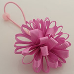 Ponytail Holder, Satin Ribbon, with Rubber & Plastic, Flower, elastic, pink, 100x40mm, 30PCs/Lot, Sold By Lot