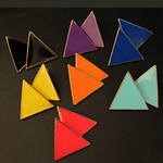 Zinc Alloy Stud Earring, zinc alloy earring post, Triangle, gold color plated, enamel, mixed colors, nickel, lead & cadmium free, 30x28mm, 15Pairs/Lot, Sold By Lot