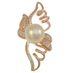 Freshwater Pearl Pendants, with Brass, Wing Shape, rose gold color plated, micro pave cubic zirconia, 20x37.50x10mm, Hole:Approx 3.5x4mm, Sold By PC