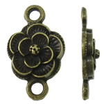 Flower Zinc Alloy Connector antique bronze color plated 1/1 loop nickel lead   cadmium free 12x19.50x3.50mm Hole:Approx 2.5mm Approx 905PCs/KG