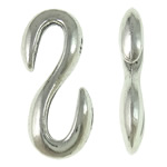 Zinc Alloy S Clasp, Letter, antique silver color plated, nickel, lead & cadmium free, 11.50x28x4mm, Approx 310PCs/KG, Sold By KG
