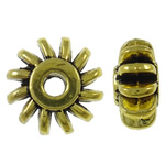 Zinc Alloy Jewelry Beads, Rondelle, antique gold color plated, lead & cadmium free, 12x6mm, Hole:Approx 2.7mm, Approx 525PCs/KG, Sold By KG