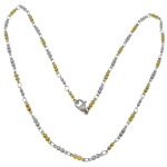 Stainless Steel Chain Necklace, 316L Stainless Steel, two tone, 9x2.50x2mm, Length:17.5 Inch, 20Strands/Lot, Sold By Lot