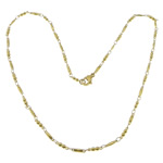 Stainless Steel Chain Necklace, 316L Stainless Steel, gold color plated, bar chain, 9x2.5x2.5mm, 8x2x1.5mm, Length:17.5 Inch, 20Strands/Lot, Sold By Lot