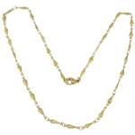 Stainless Steel Chain Necklace, 316L Stainless Steel, Teardrop, gold color plated, bar chain, 11.50x3.50x1.50mm, Length:17.5 Inch, 20Strands/Lot, Sold By Lot