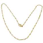 Stainless Steel Chain Necklace, 316L Stainless Steel, gold color plated, bar chain, 8x2x2mm, 6x2.5x2.5mm, Length:18 Inch, 20Strands/Lot, Sold By Lot