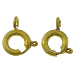 Brass Spring Ring Clasp, gold color plated, nickel, lead & cadmium free, 7x9x1.80mm, Hole:Approx 2mm, 2000PCs/Bag, Sold By Bag