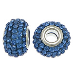 European Resin Beads, Rondelle, platinum color plated, brass double core without troll & with rhinestone, blue, 9x15mm, Hole:Approx 5mm, 50PCs/Lot, Sold By Lot