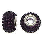 European Resin Beads, Rondelle, platinum color plated, brass double core without troll & with rhinestone, dark purple, 9x15mm, Hole:Approx 5mm, 50PCs/Lot, Sold By Lot