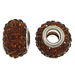 European Resin Beads, Rondelle, platinum color plated, brass double core without troll & with rhinestone, brown, 9x15mm, Hole:Approx 5mm, 50PCs/Lot, Sold By Lot