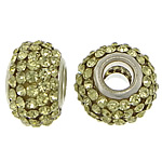 European Resin Beads, Rondelle, platinum color plated, brass double core without troll & with rhinestone, yellow, 9x15mm, Hole:Approx 5mm, 50PCs/Lot, Sold By Lot