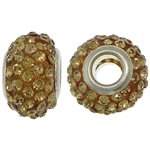 European Resin Beads, Rondelle, platinum color plated, brass double core without troll & with rhinestone, deep yellow, 9x15mm, Hole:Approx 5mm, 50PCs/Lot, Sold By Lot