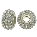 European Resin Beads, Rondelle, platinum color plated, brass double core without troll & with rhinestone, white, 9x15mm, Hole:Approx 5mm, 50PCs/Lot, Sold By Lot