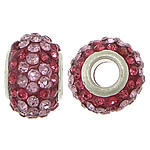 European Resin Beads, Rondelle, platinum color plated, brass double core without troll & with rhinestone & two tone, 10x15mm, Hole:Approx 5mm, 50PCs/Lot, Sold By Lot
