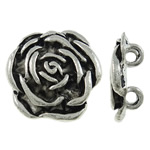 Flower Zinc Alloy Connector, antique silver color plated, 2/2 loop, nickel, lead & cadmium free, 19.50x19.50x4mm, Hole:Approx 2.5mm, Approx 270PCs/KG, Sold By KG