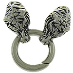Zinc Alloy Jewelry Clasp, Tiger, antique silver color plated, nickel, lead & cadmium free, 65mm, 15x29mm, Hole:Approx 8mm, 50Sets/Lot, Sold By Lot