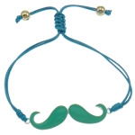 Zinc Alloy Bracelet, with Wax Cord & Copper Coated Plastic, Mustache, silver color plated, enamel & with rhinestone, nickel, lead & cadmium free, 56x13x2mm, Sold Per Approx 7.5 Inch Strand