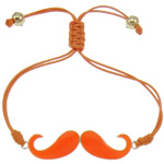 Zinc Alloy Bracelet, with Wax Cord & Copper Coated Plastic, Mustache, silver color plated, enamel & with rhinestone, orange, nickel, lead & cadmium free, 56x13x2mm, Sold Per Approx 7.5 Inch Strand