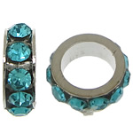 Rhinestone Spacers, with Zinc Alloy, Donut, platinum color plated, Peacock Blue, 3x8mm, Hole:Approx 5mm, 200PCs/Lot, Sold By Lot