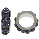 Rhinestone Spacers, Zinc Alloy, Rondelle, platinum color plated, with rhinestone, blue black, nickel, lead & cadmium free, 3x8mm, Hole:Approx 5mm, 200PCs/Lot, Sold By Lot