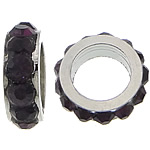 Rhinestone Spacers, with Zinc Alloy, Donut, platinum color plated, dark purple, 3x8mm, Hole:Approx 5mm, 200PCs/Lot, Sold By Lot