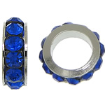Rhinestone Spacers, with Zinc Alloy, Donut, platinum color plated, dark blue, 3x8mm, Hole:Approx 5mm, 200PCs/Lot, Sold By Lot
