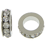 Rhinestone Spacers, with Zinc Alloy, Donut, platinum color plated, white, 3x11mm, Hole:Approx 6mm, 200PCs/Lot, Sold By Lot