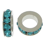 Rhinestone Spacers, with Zinc Alloy, Donut, platinum color plated, Peacock Blue, 3x11mm, Hole:Approx 6mm, 200PCs/Lot, Sold By Lot