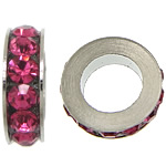 Rhinestone Spacers, Zinc Alloy, Rondelle, platinum color plated, with rhinestone, rose carmine, nickel, lead & cadmium free, 3x11mm, Hole:Approx 6mm, 200PCs/Lot, Sold By Lot