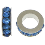 Rhinestone Spacers, with Zinc Alloy, Donut, platinum color plated, blue, 3x11mm, Hole:Approx 6mm, 200PCs/Lot, Sold By Lot