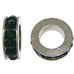 Rhinestone Spacers, with Zinc Alloy, Donut, platinum color plated, deep green, 3x11mm, Hole:Approx 6mm, 200PCs/Lot, Sold By Lot