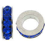 Rhinestone Spacers, with Zinc Alloy, Donut, platinum color plated, dark blue, 3x11mm, Hole:Approx 6mm, 200PCs/Lot, Sold By Lot
