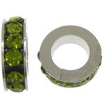 Rhinestone Spacers, with Zinc Alloy, Donut, platinum color plated, olive green, 3x11mm, Hole:Approx 6mm, 200PCs/Lot, Sold By Lot