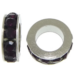 Rhinestone Spacers, with Zinc Alloy, Donut, platinum color plated, dark purple, 3x11mm, Hole:Approx 6mm, 200PCs/Lot, Sold By Lot