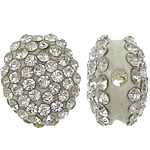 Rhinestone Resin Beads, Flat Oval, with rhinestone, white, 13x15x8mm, Hole:Approx 2mm, 50PCs/Lot, Sold By Lot
