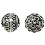 Zinc Alloy Jewelry Beads Oval antique silver color plated nickel lead   cadmium free 17x17mm Hole:Approx 1.5mm 10PCs/Bag