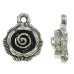 Wisior ze stopu cyku w kształcie kwiatu, Stop cynku, Platerowane kolorem starego srebra, bez zawartości ołowiu i kadmu, 14x17x5mm, otwór:około 2mm, około 430komputery/KG, sprzedane przez KG