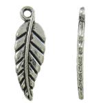 Sinkkiseos Feather riipukset, Sulka, antiikki hopea päällystetty, lyijy ja sen kadmium vapaa, 6x19x1.50mm, Reikä:N. 1.3mm, N. 1665PC/laukku, Myymät laukku