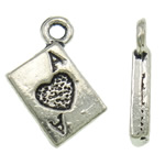 Zinc Alloy Pendants, Rectangle, antique silver color plated, lead & cadmium free, 10.50x13.50x2mm, Hole:Approx 1.5mm, Approx 1665PCs/Bag, Sold By Bag