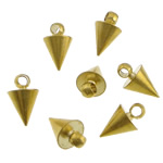 Brass Jewelry Pendants, Cone, gold color plated, lead & cadmium free, 6x10mm, Hole:Approx 2mm, 1000PCs/Bag, Sold By Bag