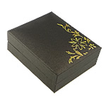 Cardboard Pendant Box, Paper, with Velveteen, Rectangle, with flower pattern & gold accent, black, 67x81x30mm, 25PCs/Lot, Sold By Lot