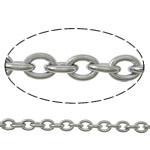 Owalne łańcucha ze stali nierdzewnej, Stal nierdzewna, oryginalny kolor, 2.50x2x0.50mm, długość:100 m, sprzedane przez wiele