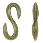 Zinc Alloy S Clasp, Letter, antique bronze color plated, nickel, lead & cadmium free, 15x28x5mm, Approx 340PCs/KG, Sold By KG