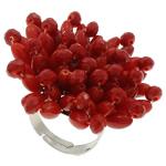 Натуральный коралл Кольцо, с Кристаллы & Железо, Форма цветка, Платиновое покрытие платиновым цвет, красный, 42x30mm, внутренний диаметр:Приблизительно 18mm, размер:7.5, 5ПК/сумка, продается сумка