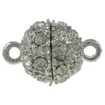 Zinc Alloy Magnetic Clasp, Round, platinum color plated, with rhinestone & single-strand, nickel, lead & cadmium free, 16x10mm, Hole:Approx 1.5mm, 10PCs/Bag, Sold By Bag