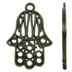 Zinklegering Hamsa Hangers, Zinc Alloy, antiek brons plated, Joodse Jewelry & Islam sieraden, nikkel, lood en cadmium vrij, 17x26x1.50mm, Gat:Ca 2mm, Ca 660pC's/KG, Verkocht door KG