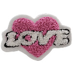 Iron on Patches, Cloth, Heart, pink, 80x50mm, 50PCs/Bag, Sold By Bag